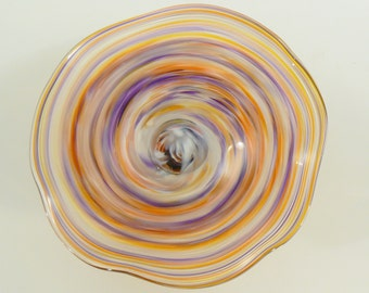 Pastel rings of purples, pinks, oranges and yellow Blown Glass Wall art Sculpture / Platter
