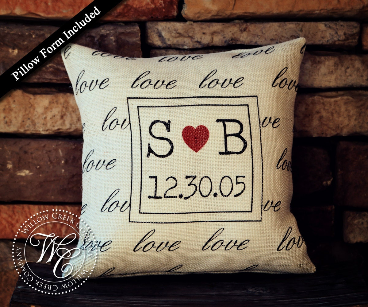 Monogrammed Wedding Gift: Burlap Pillow Personalized Wedding Gift PILLOW With Couples