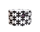Modern Drum Lamp Shade - Choose Your Size - Black and White - Puzzled