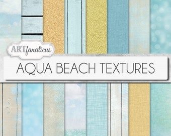 "Digital beach papers ""AQUA BEACH TEXTURES"" sandy beach, sand texture,beach wood,sky, aqua sea,aqua bokeh, burlap, linen, weave, scrapbooking"