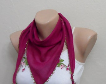 fuchsia pink scarf cotton scarf yemeni scarf pink oya scarf fashion accessories trendy scarf womens scarves gift for her