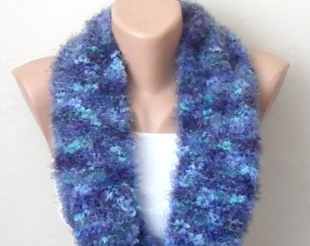 royal blue knitting infinity scarf pompon ciliated thread multicolor knitting scarf knitting shawls woman scarf gift for her