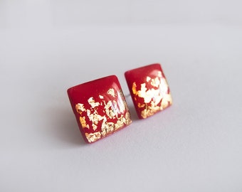 Red Gold Stud Earrings - Hypoallergenic Surgical Steel Posts