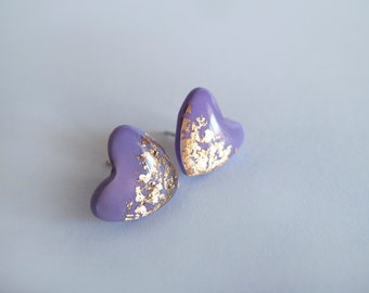 Purple Gold Stud Earrings - Hypoallergenic Surgical Steel Post