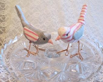 Bird Cake Topper Wedding Cake Topper Birds Pink and Gray Fabric Birds Cake Topper for weddings, love birds, bird pair