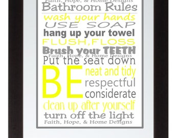 Grey and Yellow Bathroom Rules Wall Art  Poster 8x10 Digital Art Download Printable e-Print Print