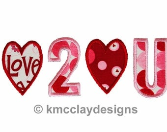 Love to Love You Applique.Machine Embroidery Applique Design. Instant Download. 4x4 and 5x7 from kmcclayapplique
