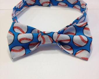 Toddlers and Boys Blue Baseball Adjustable Bow Tie
