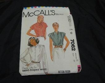 McCall's 7062  Misses Top  Size 12 Bust 34 UNCUT pattern  1980 Carole Little for Saint-tropez West