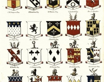 Original Antique Hand colored print  – Coats of Arms Vintage Print – Coats of Arms - Encyclopedia Of Londinensis