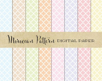 Pastel Moroccan Pattern Digital Paper