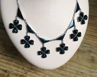30s enamel and silver necklace