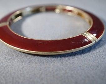 Vintage Yellow Gold Tone Burgundy Enameled Station Domed Curved Bangle Bracelet