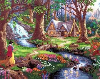 Counted Cross Stitch DISNEY Kit Snow White Thomas Kinkade NEW