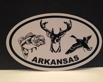 Arkansas Hunting and Fishing Sticker Decal