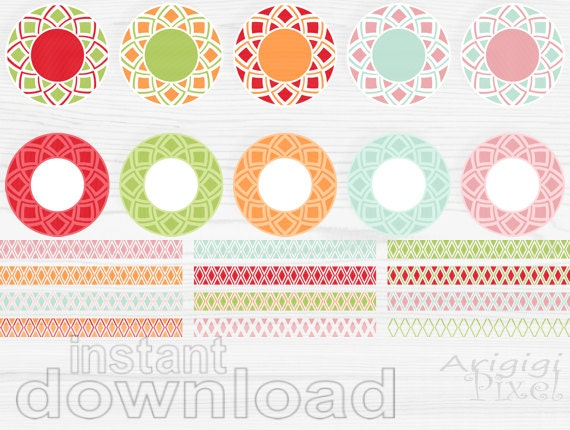decorative frames - circles clipart - borders clipart - download clipart - bright spring colors - card making supply digital