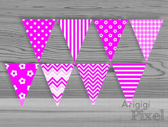 Magenta Pink Printable Banners - Chevron, Gingham, Flowers, Polka Dot, Stripes - PDF Download