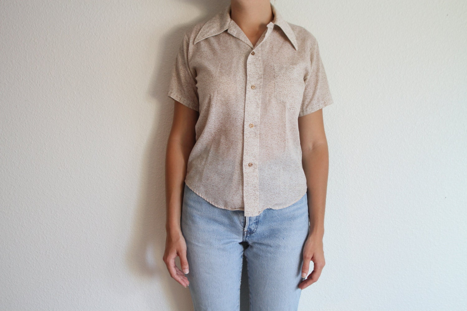 Button up shirt short sleeve off white brown leafy by for White shirt brown buttons