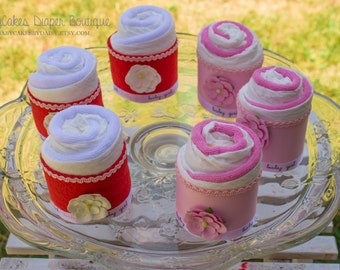 It's a Girl Diaper Cakes, Mini Diaper Cakes, Diapers and Wash Cloth Diaper Cakes
