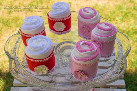 6 Mini Diaper Cupcakes | Pink Flowers | Baby Shower | Diapers and Wash Cloths | Baby Girl | Baby Shower | Diaper Cake for a Girl