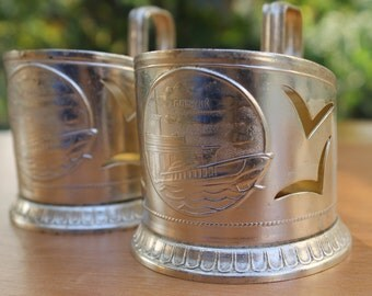 Glass Holders ... Set of 2 Vintage Traditional Soviet Russian Tea Glass Holders