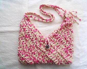 Pink crochet bag