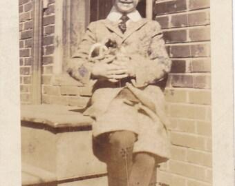 Vintage Black & White Snapshot Photograph: Boy Dressed Outside 1920's 56A