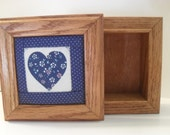 Pretty Wooden Trinket Box with Blue and White Heart Quilt Block Inset