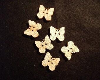 6 Buttons, Wooden / 1.8 x 1.8 cm (15-0008A)