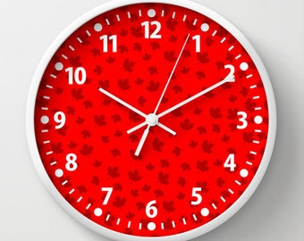 Red Canada Maple Leaf Wall Clock with Numbers, Red Clock for Kids
