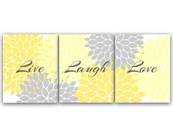 Live Laugh Love, INSTANT DOWNLOAD Bath Art, Bedroom Wall Art, Printable Modern Bedroom Wall Decor, Yellow and Grey Bedroom Decor - HOME54