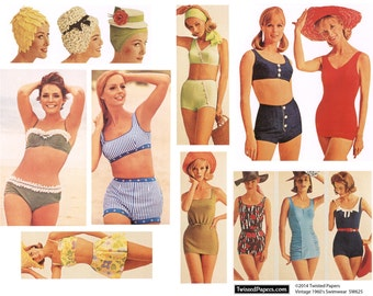 Vintage 1960s Women Swimsuits, Beachwear, Bathing Caps, Printable Digital Collage Sheet SW625