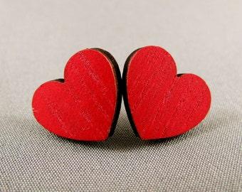 Stud Earrings Wooden - Red Heart