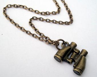Binoculars charm necklace in antique bronze travel birdwatching adventure astronomy