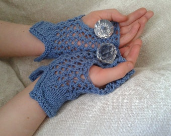 Lace Knit Fingerless Handwarmers, Mitts, Knit Lace, Victorian, Steampunk
