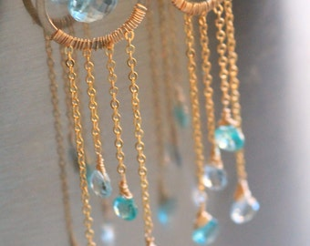 The Nicasa  - Apatite & Blue Topaz gold chandelier earrings