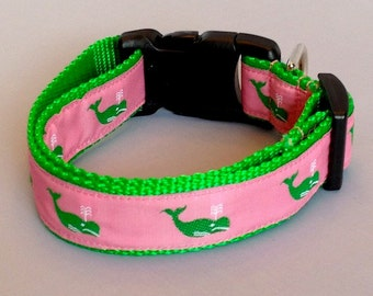 PREPPY WHALES 3 WAY ~ Dog Collar - Leash Sold Separately