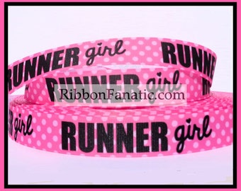 "5 yds 7/8"" Runner Girl Fitness Running Grosgrain Ribbon"