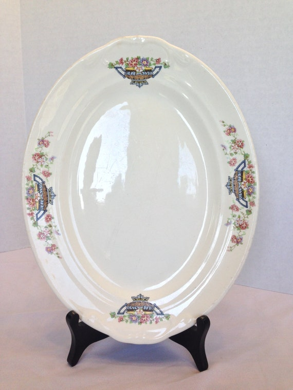 Crown Potteries Company Serving Platter Plate Dish Floral