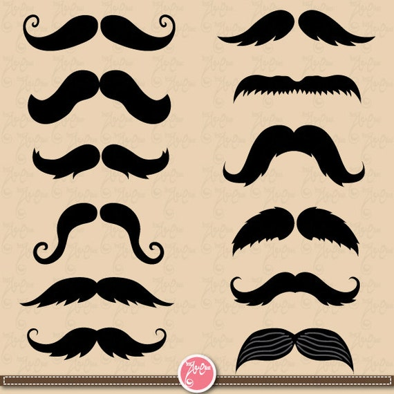 Mustaches Clip Art Retro Mustache Photo Booth Father s day Fdt005 Best    Photo Booth Clip Art