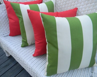 "SET OF 4 Pillow Covers - 20"" Indoor / Outdoor Decorative Pillow Covers - Green and Ivory Stripe and Solid Red"