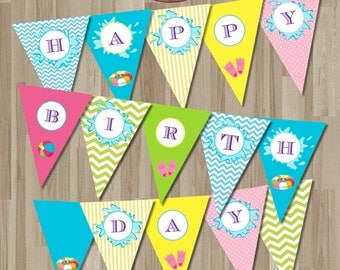 Instant download Birthday Pool party Banner / Digital Printable.