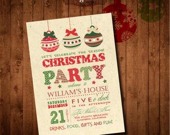 Christmas Party Invitation. DIY card. Digital Printable card