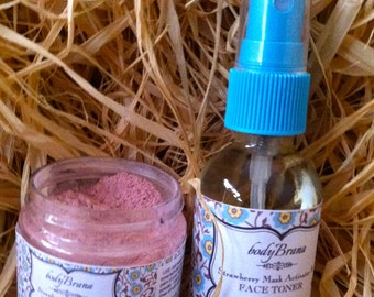 Organic Strawberry and Cream Mask with Strawberry Toner and Mask Activator