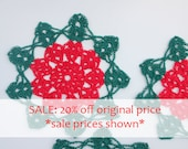 SALE SALE Poinsettia Doily Set, Crochet Doily Set, Red and Green Poinsettia Doily, Christmas Decoration