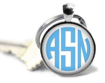 Monogram keyring bridesmaid gift custom keychain sorority key ring preppy key chain.