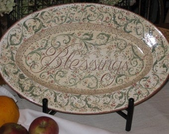 "Large ""Blessings"" Ceramic Hand Painted Platter"