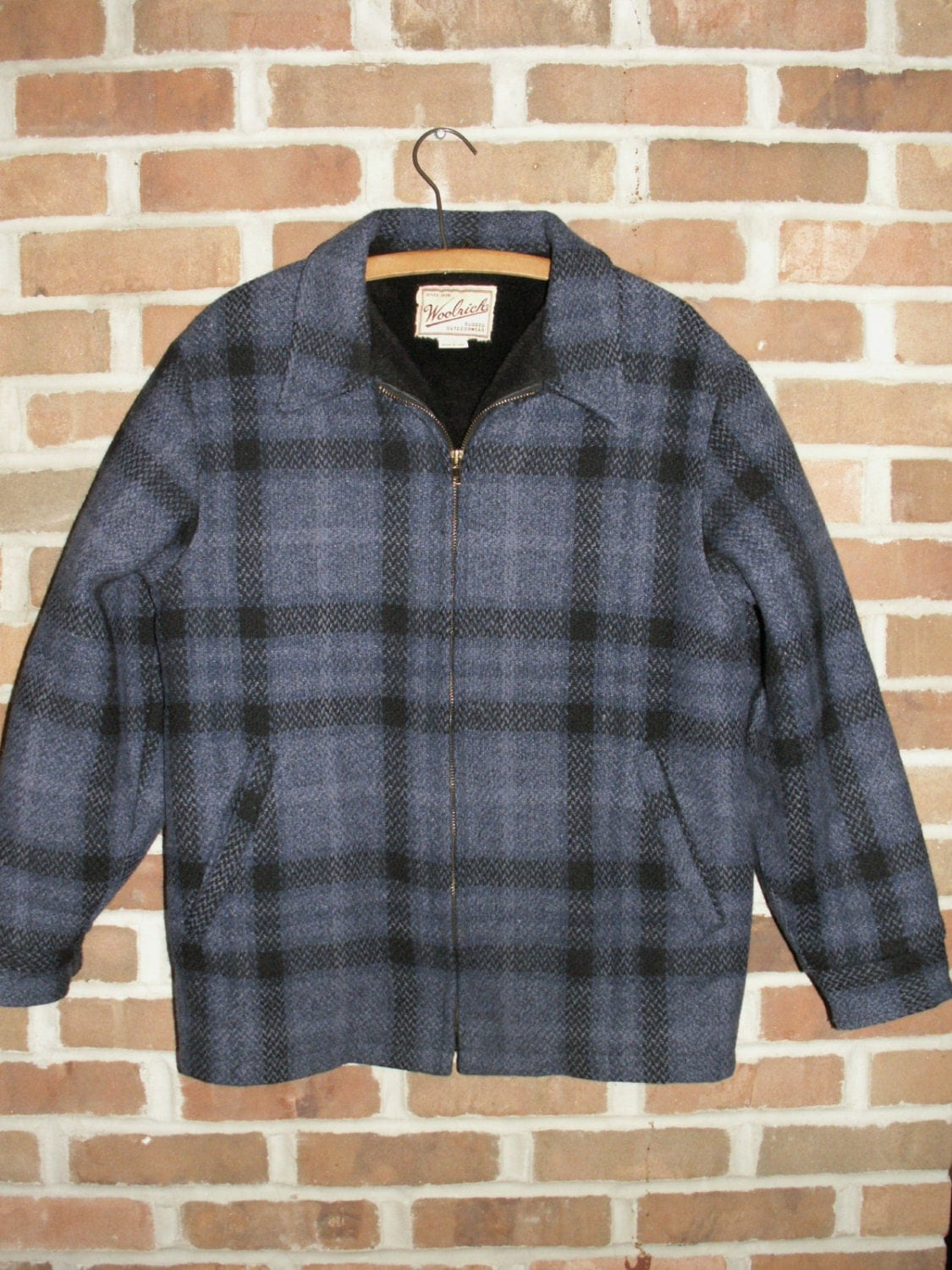 sale woolrich blue black plaid jacket by rehang on etsy. Black Bedroom Furniture Sets. Home Design Ideas