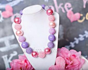 Sweet Tart Necklace, Valentine Necklace, Chunky Valentine Necklace, Chunky Bead Necklace, Child Girls Necklace