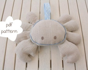 Crab Pattern -  fabric crab pattern - crab pdf pattern- crab sewing pattern - softie pattern